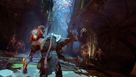 Kratos y Atreus contra varios Draugr