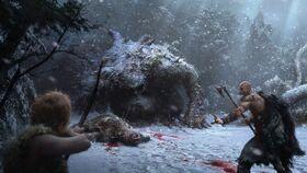 Kratos y Atreus contra un Ogro