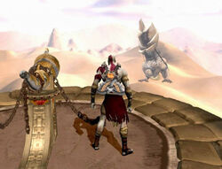 Cronos sosteniendo el templo de pandora