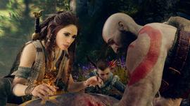 Freya curando al jabalí Hildisvíni ante Kratos y Atreus