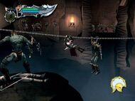 Kratos pasando atraves de la cuerda