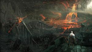 Volcán de Metana destruyendo Creta