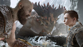 God of War - Screenshot - Kratos & Atreus & Monster