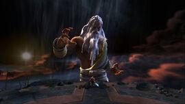 Kratos y Zeus en la Cumbre del Sacrificio