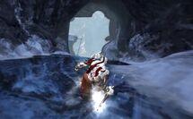 Kratos descendiendo por las Cavernas Heladas