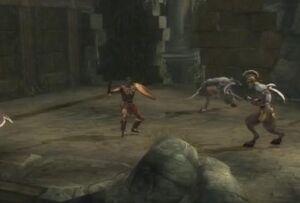 Un argonauta luchando contra Centinelas de los Hados