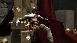 Kratos sentado en el Trono del Dios de la Guerra