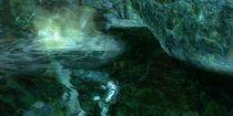 Kratos en la entrada de la Gruta