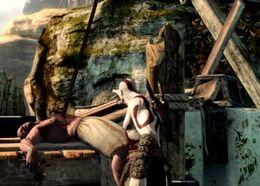 Kratos a punto de recoger una lanza