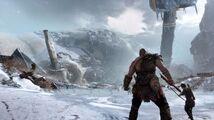 Kratos y Atreus ante el cadáver de Thamur