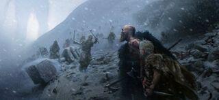 Kratos y Atreus ante un grupo de Infernales