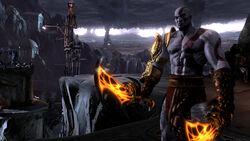 Kratos con las Espadas del Exilio en el Reino de Hades