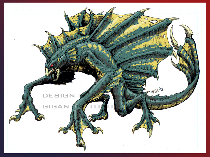 Dibujos Godzilla Raids Again 1955 Para Colorear: Organic Gigan Design By KaijuSamurai.jpg