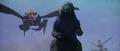 Godzilla vs. Megaguirus - Megaguirus flies behind Godzilla