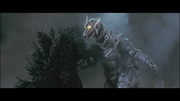 GMMG - Kiryu stabbing his Drill Hand onto Godzilla