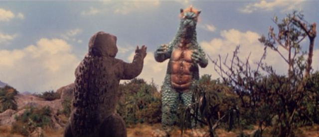 File:All Monsters Attack - Gabara thinks Minilla is saying to beat him up.png