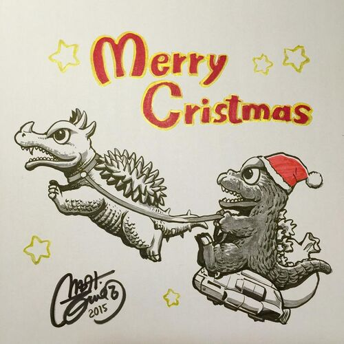 Godzilla Christmas Artwork by Shinji Nishikawa