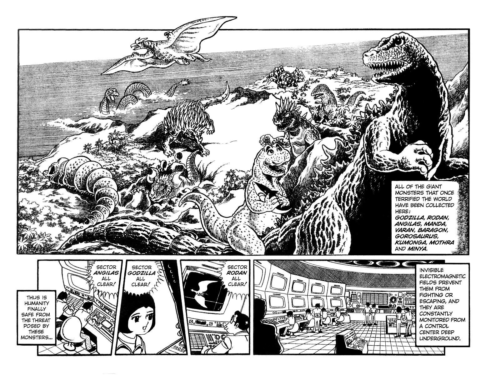 Dibujos Godzilla Raids Again 1955 Para Colorear: Destroy All Monsters Manga- Intro Page.png