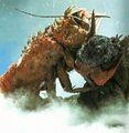Ebirah fights Godzilla