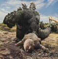 SOG - Spraying Godzilla While He Drags Baby Minilla