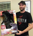 Chris Mowry With Giant Size Godzilla Figure