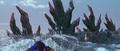 Godzilla vs. Megaguirus - Godzilla surfaces dorsal plates-first