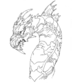 Concept Art - Godzilla Final Wars - Keizer Ghidorah Head Left