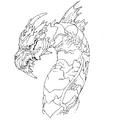 Concept Art - Godzilla Final Wars - Keizer Ghidorah Head Left