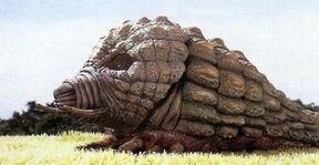Prehistorische mothra raupe