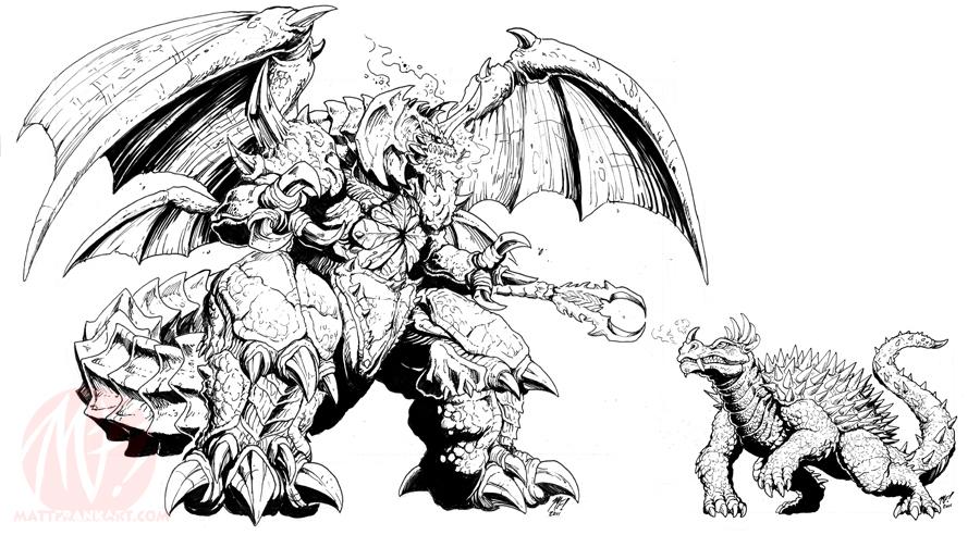 Dibujos Godzilla Raids Again 1955 Para Colorear: Godzilla Idw Concepts Angy And Dez By Kaijusamurai