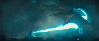 Godzilla unleashes his Atomic Breath on Ghidorah