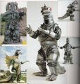 Gigan, Hedorah, and MechaGodzilla suits