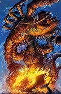 Godzilla alzando y agarrando a ebirah en Godzilla Rulers of Earth -17