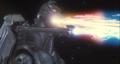 Super MechaGodzilla firing the Mega-Buster Ray and the Garuda's cannons