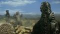 Minilla and Gorosaurus cheer whilst Godzilla watches