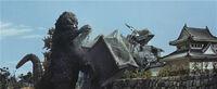 Godzilla wrecking Nagoya Castle