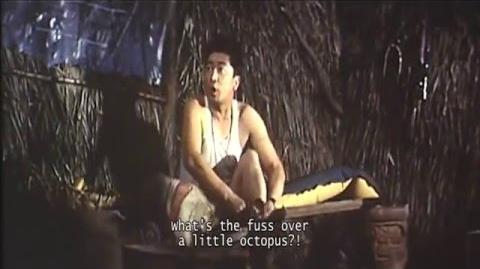 Giant Octopus Attack on Native Village in King Kong vs. Godzilla (1962)