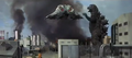 Godzilla vs. Hedorah 1 - Godzilla fighting Flying Hedorah