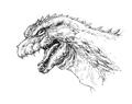 Concept Art - Godzilla 2000 Millennium - Godzilla Head 3