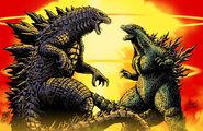 Godzilla vs godzilla by matt frank and mash by kaijusamurai-d9ge2bs