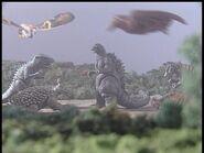 Todos los monstruos felicitan a Godzilla en Godzilla Island episdio 5