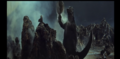 Godzilla throws a rock!
