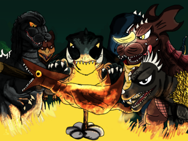 Kaiju roast completed happy bday kaijusamurai by asuma17-d6wqm4c
