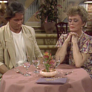 Blanche, and Dirk at dinner.
