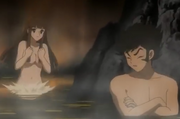 Sayaka yumi and koji kabuto mazinger edition z hot spring
