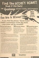 Secret Scare Sweepstakes bookad from OS 58 1997