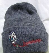 Curly grey beanie hat