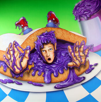 Purple Peanut Butter covering a boy.