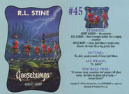 Goosebumps 45 Ghost Camp trading card front and back