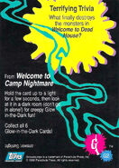 09 Camp Nightmare Glow Dark Topps Trading Card G2 back